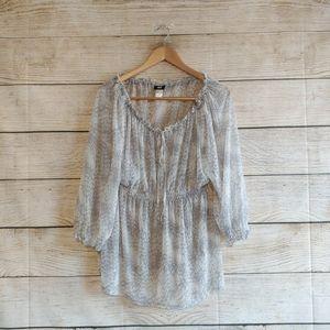 H&M Sheer Gray Snake Skin Pattern Blouse L